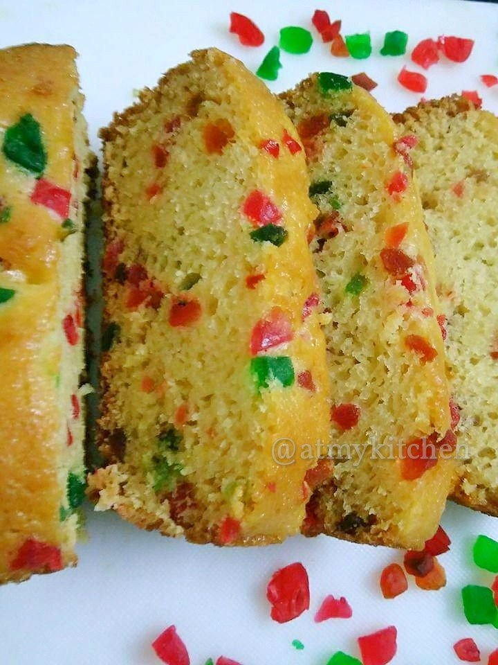 This Eggless Tutti Frutti Cake Is Very Light And Soft With Moist Crumb It Made Without Eggs I Have Substituted Egg In Recipe Curd Yogurt