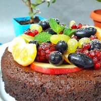 Chocolate Wine Fruit Cake / Whole Wheat Chocolate Wine Fruit Cake / Eggless Wine Fruit Cake