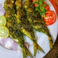 Pan Grilled Green Masala Fish / Green Masala Fish Fry / Grilled Green Masala Mackerel