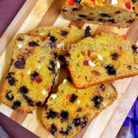 Whole Wheat Fruit And Nut Cake / Eggless Fruit And Nut Cake / Semolina Jaggery Fruit Cake