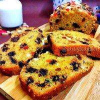 Whole Wheat Fruit And Nut Cake / Eggless Fruit And Nut Cake / Semolina Jaggery Fruit Cake