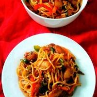 Pork Hakka Noodles / Pork Chow / Indo-Chinese Pork Noodles