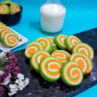 Vanilla Custard Pinwheel Cookies / Tiranga Cookies / Tricolor Cookies